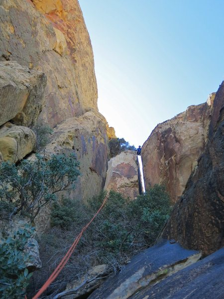 Chris bridging the chasm between CFT and Mt. Wilson. Preparing to rappel from the notch.