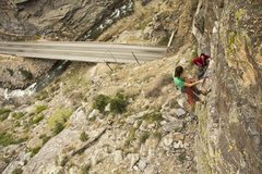 Rock Climbing Photo: Jose coming up to the anchors and the belay for th...
