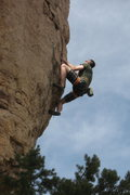 Rock Climbing Photo: Mike Bankoff on the final few moves before the cha...