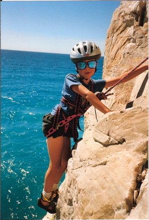 Rock Climbing Photo: My son on sea cliffs at Capo Noli, ( near Finale)