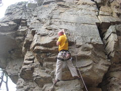 Rock Climbing Photo: Sean finding the sweet right hand letter box at th...