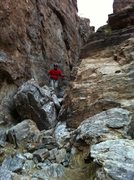 Rock Climbing Photo: Me standing on the boulder that guards the upper c...