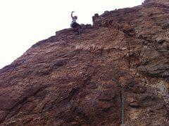 """Rock Climbing Photo: Kristina atop """"Krang"""""""