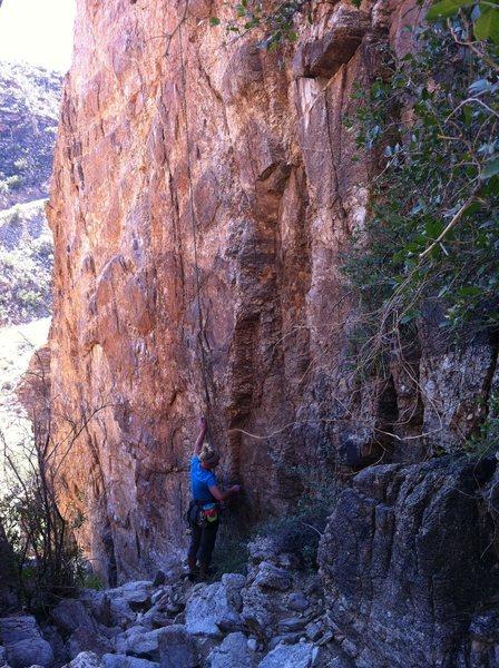 "Rock Climbing Photo: Kristina standing below ""Bebop"" and &quo..."
