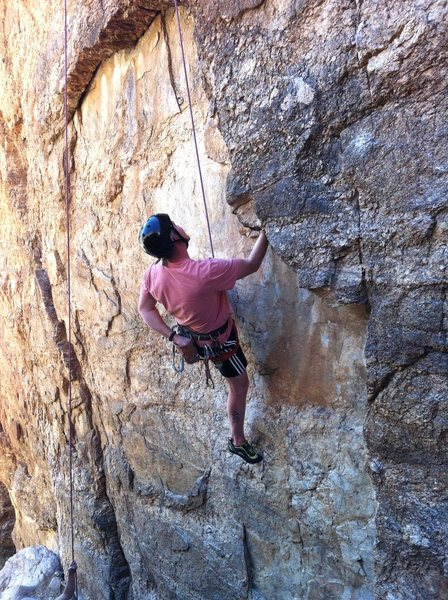 "Rock Climbing Photo: Mike working ""Michangelo"". 1/3"