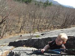 Rock Climbing Photo: Zackary(3 years old) at the tree belay