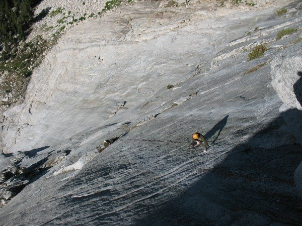 """Corey Flynn headed up to pitch 5 roof on """"Sea of NO Knobs"""" mega 5.8 runout.   This was Cpt. Fairview's second ascent."""