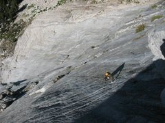 """Rock Climbing Photo: Corey Flynn headed up to pitch 5 roof on """"Sea..."""