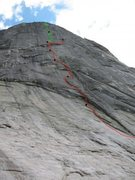 Rock Climbing Photo: Route outline.  Lyme Line is green.  Captain Fairv...
