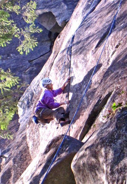 Carolyn Marquardt at the crux (11d) thin layback section of House of the 7th bobcat.