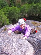 Rock Climbing Photo: Carolyn Marquardt exiting the slot, just below the...