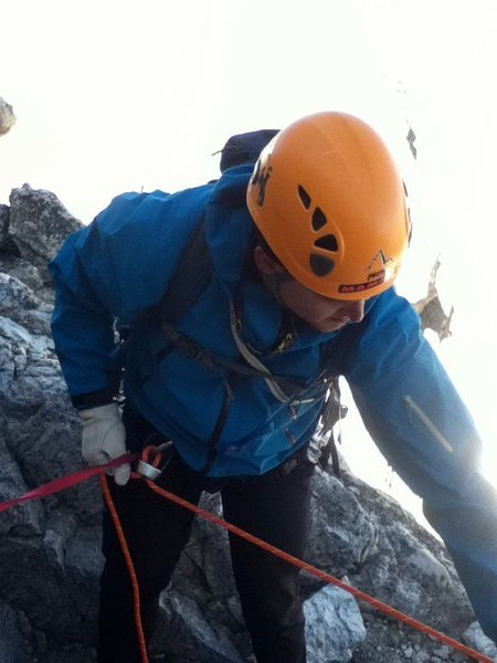 Rock Climbing Photo: my brother belaying on the Grand Teton in WY