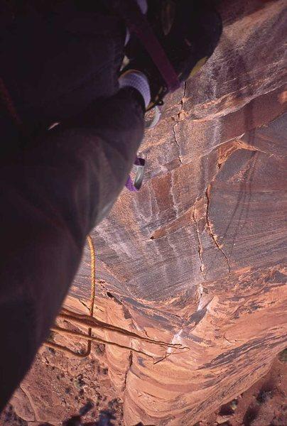 Rock Climbing Photo: Nice 'n' steep! View down pitch 2.