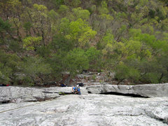 Rock Climbing Photo: Looking down on Conn's East Direct from the anchor...