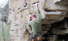 Rock Climbing Photo: The bouldery start to Jump Start.  Fun, short rout...