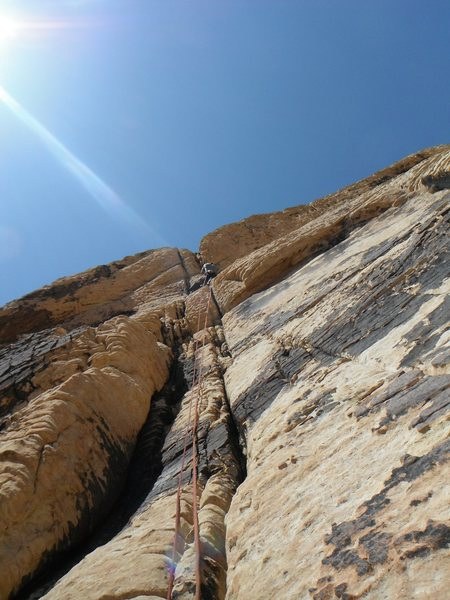 Rock Climbing Photo: Josh J. Leading pitch #4.