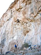 Rock Climbing Photo: Clay Mansfield working his way to the anchors.  Do...