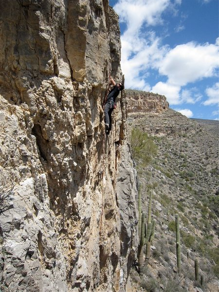 Rock Climbing Photo: Clay Mansfield cruising to the anchors.