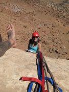 Rock Climbing Photo: Heather going down.