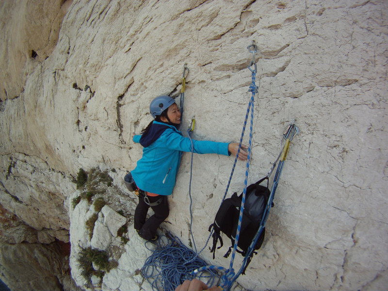 Typical belay ledge