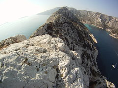"Rock Climbing Photo: View from the top of ""Les Traces du Passe"