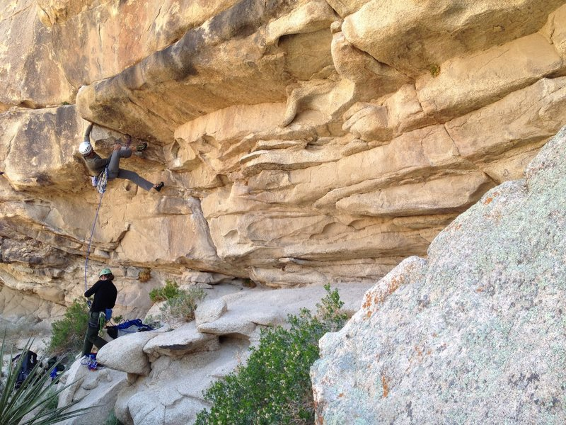 Richard Shore grabs the onsight on Crime of the Century 5.11a. Photo by Shane Saunders