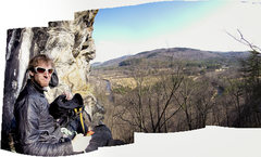 Rock Climbing Photo: Aron maxing out on the predator ledge.