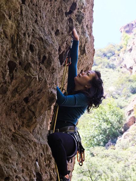 Rock Climbing Photo: Kim leading on Third Degree.
