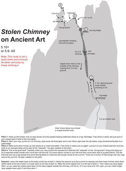 Rock Climbing Photo: Stolen Chimney/Ancient Art Topo  I climbed the rou...