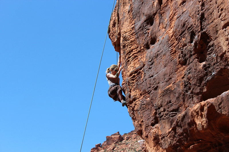 Jenny just past the crux
