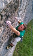 Rock Climbing Photo: TR on the shaded side of the wall, Improvised rout...