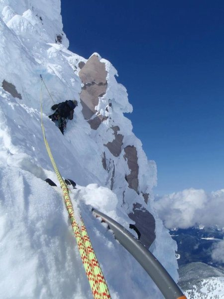 About half way up the East Arete on Illumination Rock