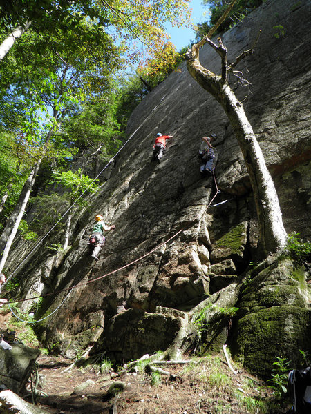 Climbers on (left--&gt@SEMICOLON@right) Little Kisses, Parthenope, and Five Star Crack