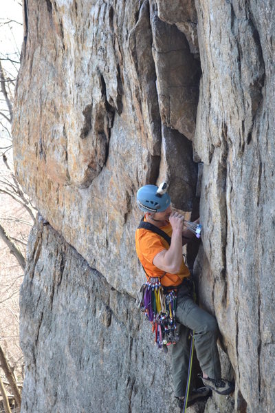 Rock Climbing Photo: on Double Crack in the Gunks.