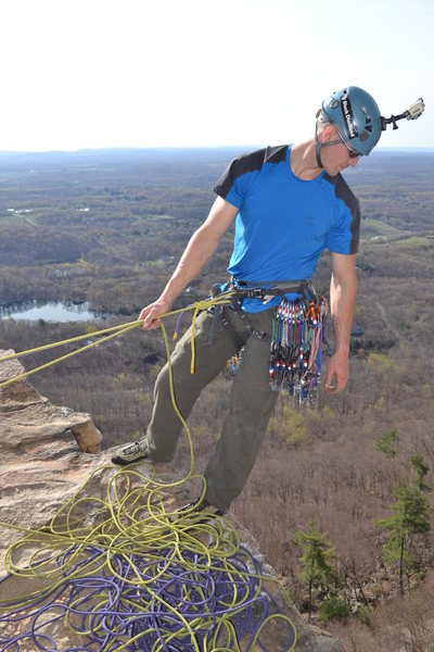 Belaying on top of the first pitch of High Exposure in the Gunks.