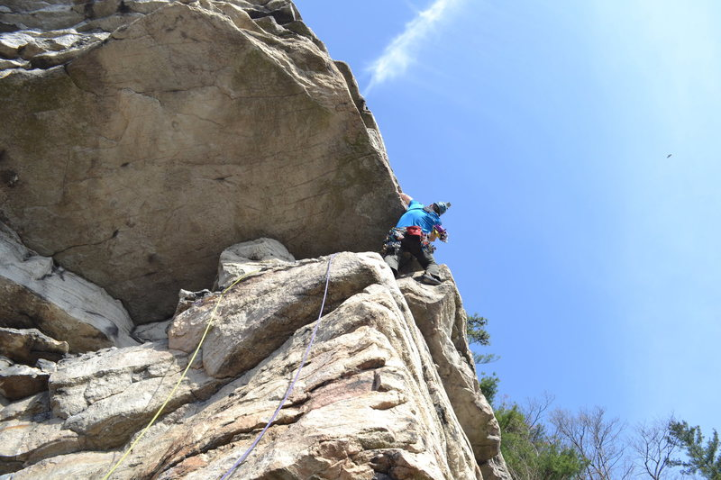 Pulling the High E Roof in the Gunks.