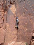 "Rock Climbing Photo: Garrett Gillest starting up ""Ladies First&quo..."