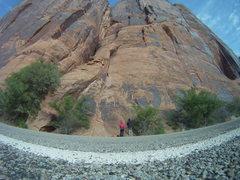 "Rock Climbing Photo: Garrett Gillest on ""Sibernetics"" looking..."