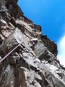Rock Climbing Photo: Just below the P1 crux.