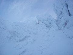 Rock Climbing Photo: Top of the couloir - Go left over a small ridge to...