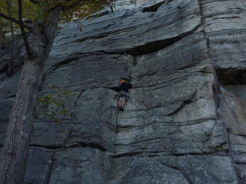 Rock Climbing Photo: Matt Leading up the first crack just below the sma...