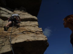 Rock Climbing Photo: Shawnee belaying Ethan up to the roof on the secon...