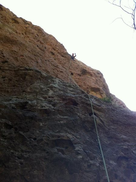 Moonshiner, light 5.9, Malibu Creek state park. Keep left of cave at crux.