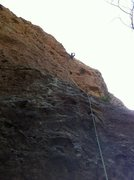 Moonshiner, light 5.9, Malibu Creek state park. Keep left of cave at crux.