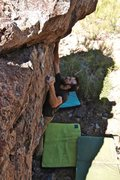 Rock Climbing Photo: Making the headwall move on Sanctuary. Photo: Krei...