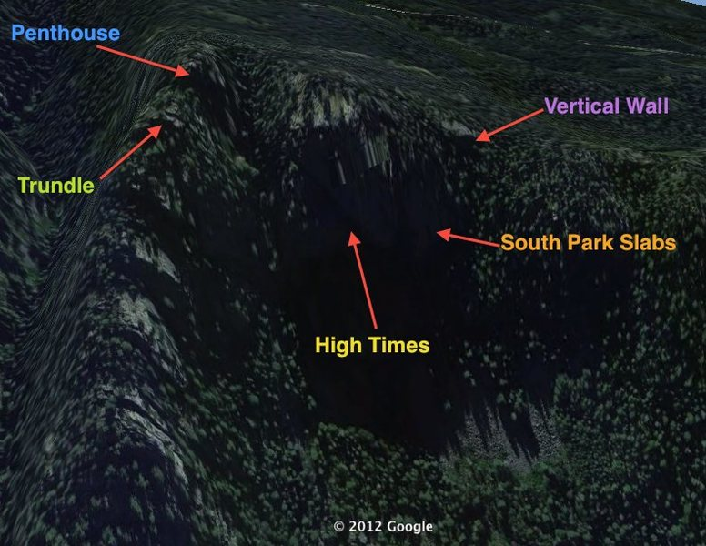 Based on approach descriptions, I've found these to be the locations of the crags. Please correct me if I'm wrong!