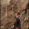 Amy Jo  Ness bouldering at Alabama Hills.<br> Photo by Blitzo.