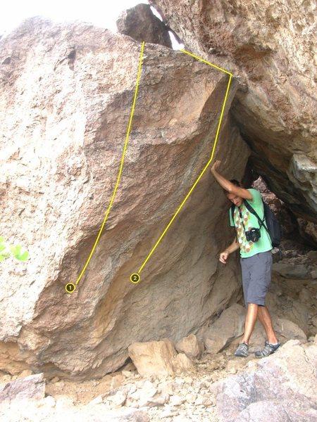 Rock Climbing Photo: 1 Outhouse Arete V1 2 Little Stinker V2+