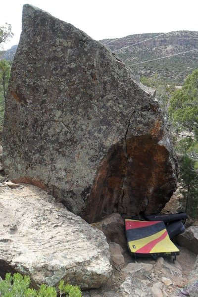 Perspective on size.  It is kind of a lowball, but it is on a huge boulder.