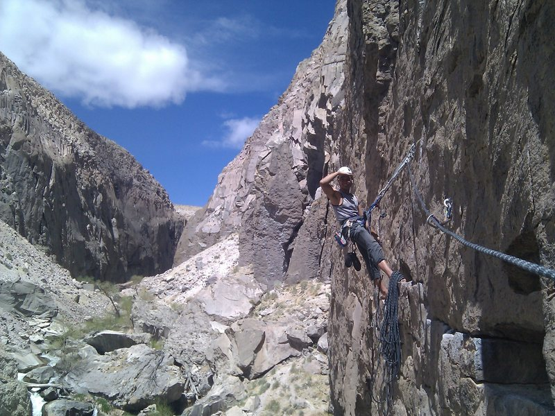 Rock Climbing Photo: Jan, at the anchors of P1 of Towering Inferno/Disc...
